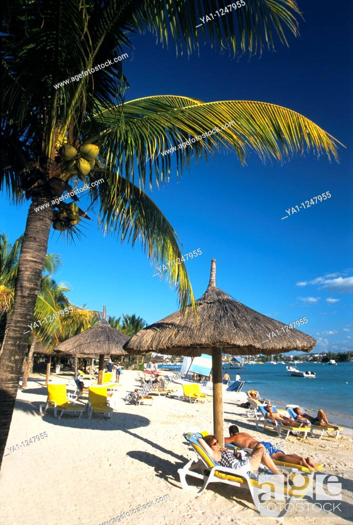 Stock Photo: Grand Baie beach, Mauritius Island, Indian Ocean.