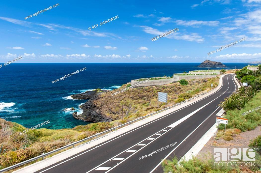 Stock Photo: Spain, Canary Islands, Tenerife, Coastal road on the north coast to Garachico.