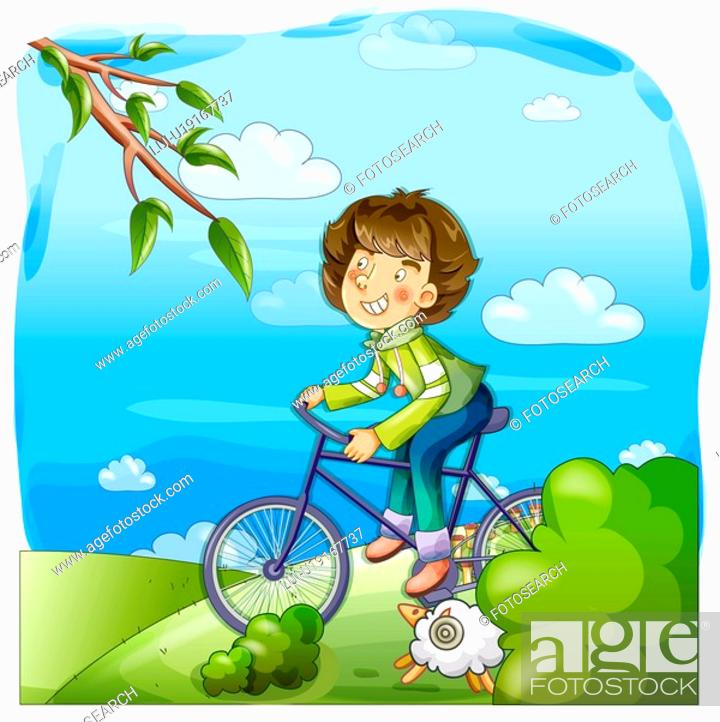 Stock Photo: sky, nature, bicycle, hiking, country, trip.