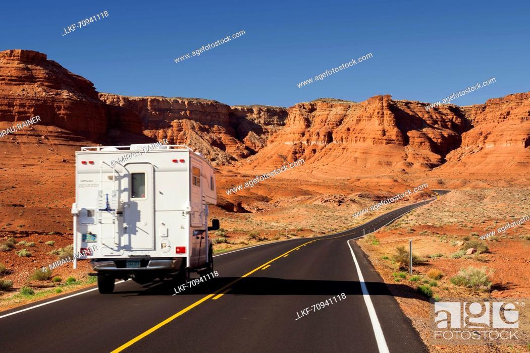 Stock Photo: Camper, Lees Ferry Road, Glen Canyon National Recreation Area, Utah, USA.
