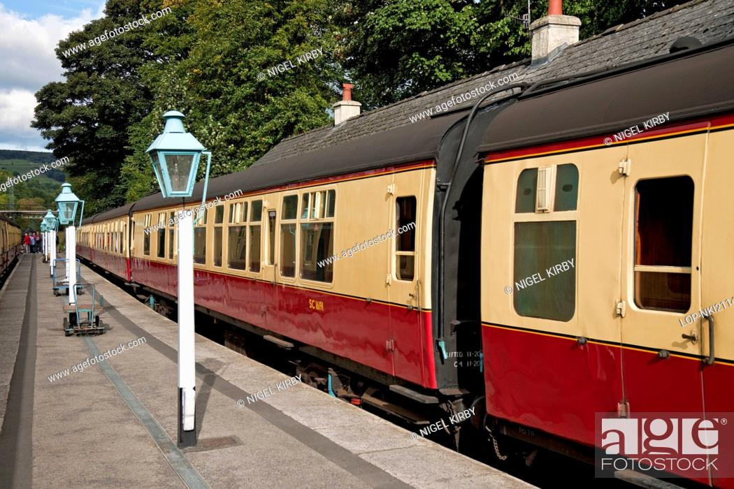 Stock Photo: England, North Yorkshire, Grosmont. Railway carriages at Grosmont Station.