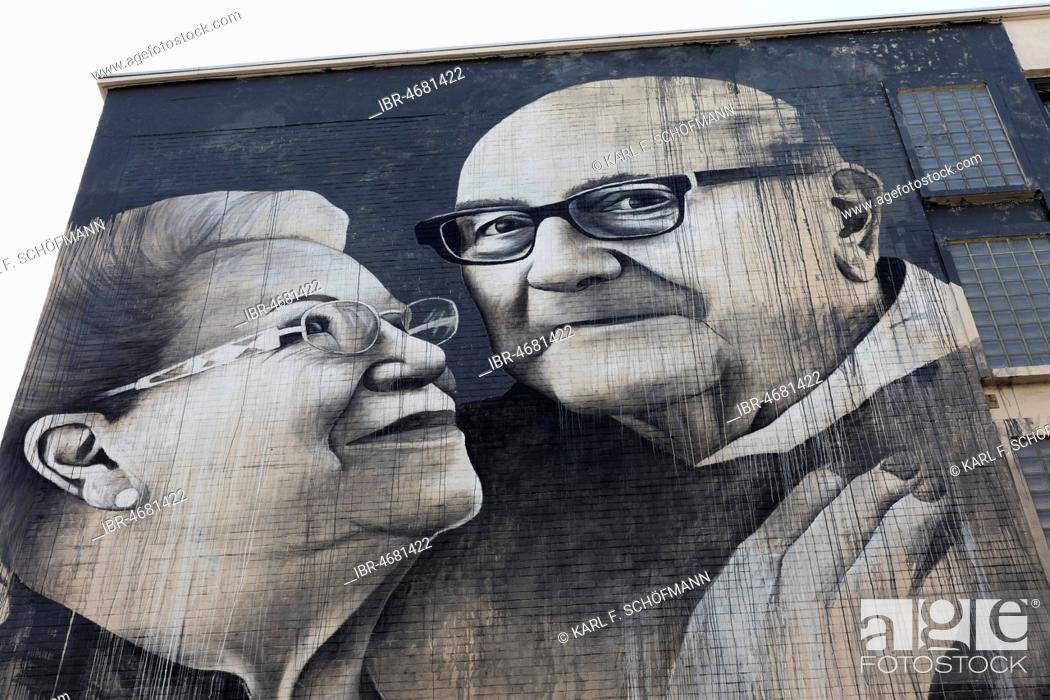 Stock Photo: Loving couple of seniors, Mural by British street artist Ben Slow, The Crystal Ship Festival 2018, Ostend, West Flanders, Belgium.