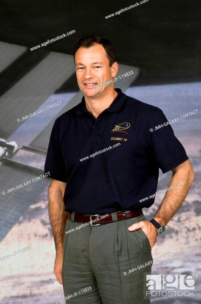 Stock Photo: Astronaut Michael E. Lopez-Alegria, Expedition 14 commander and NASA space station science officer, poses for a photograph following the Expedition 14 press.