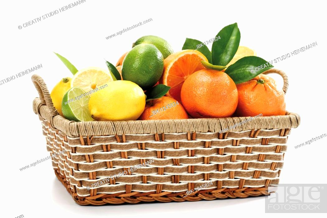 Stock Photo: Citrus fruits in a basket.