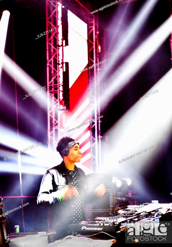 Stock Photo: 's Hertogenbosch, Netherlands, DJ FS Green is performing on stage.