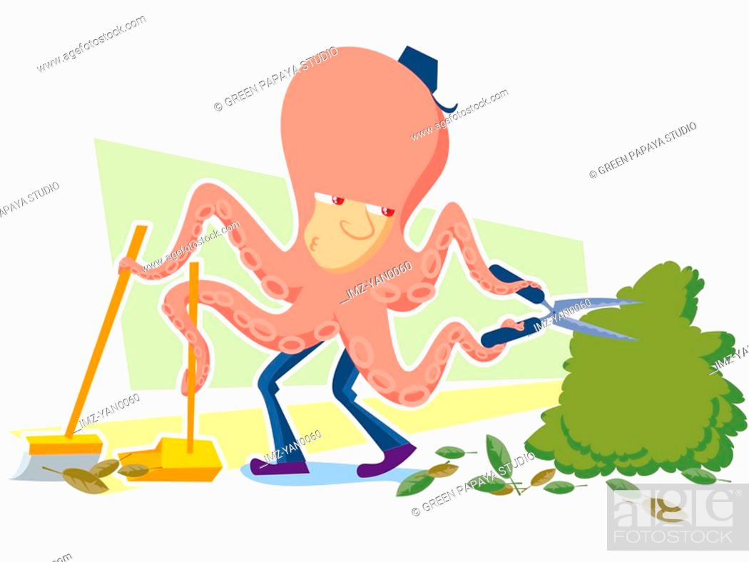 Stock Photo: A handyman doing various cleaning jobs.
