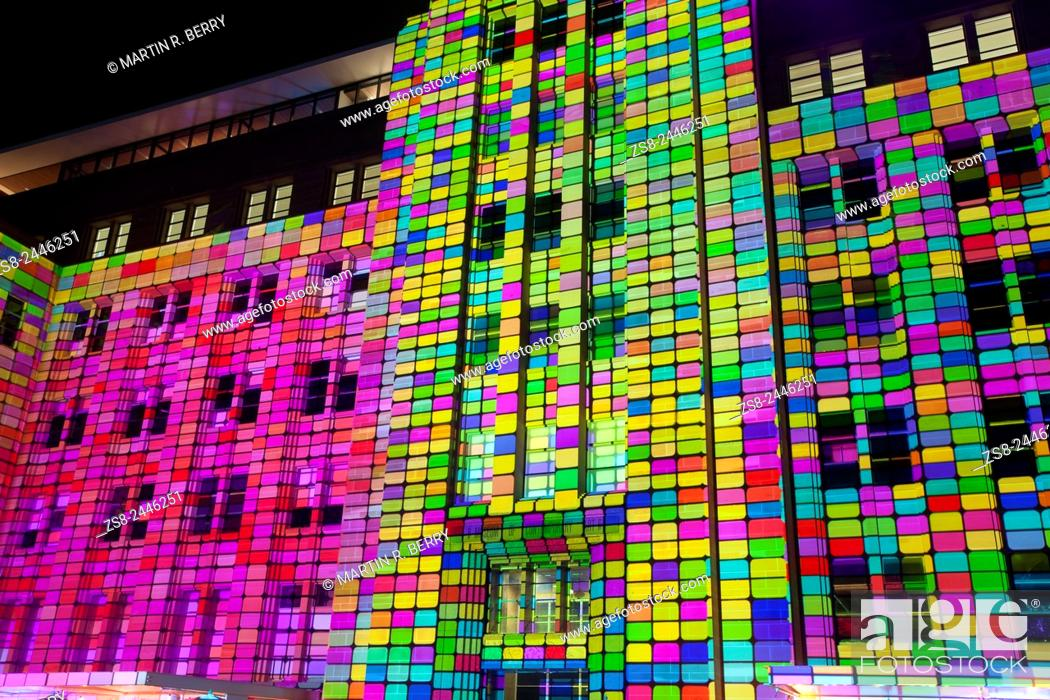 Stock Photo: Facade of the Museum of Contemporary Art at Circular Quay lights up during Vivid Sydney 2015.