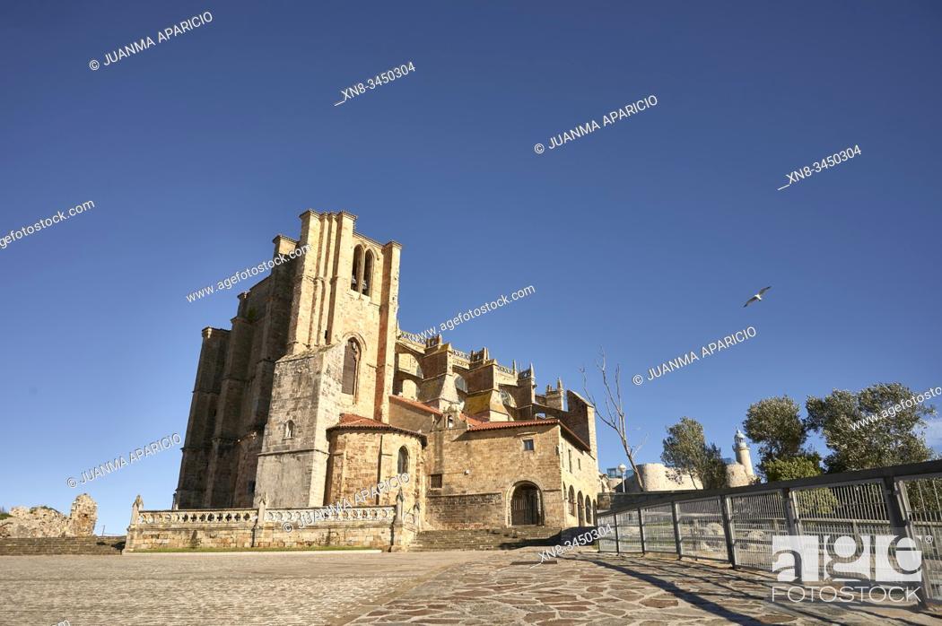 Stock Photo: Church of Santa Maria de la Asuncion, Castro Urdiales, Cantabria, Spain.