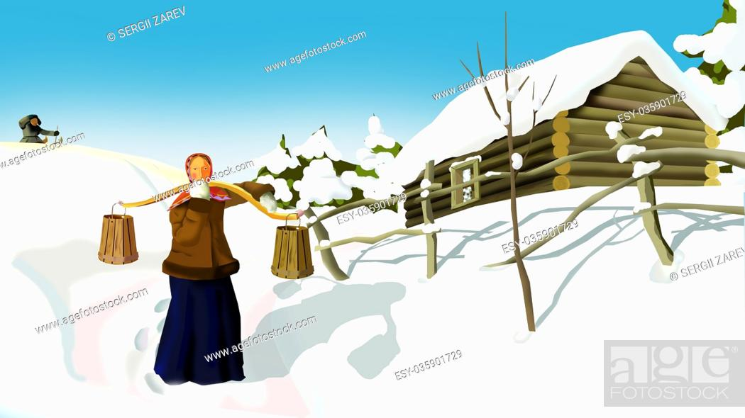 Imagen: Russian Winter in a Traditional Village. A Woman with a Yoke. Handmade illustration in a classic cartoon style.