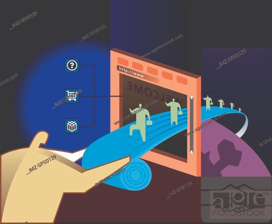Stock Photo: The walk into a computer screen.