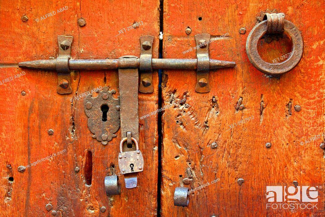 Stock Photo: Wooden door with padlock, Castello d'Empuries, Girona, Catalonia, Spain.