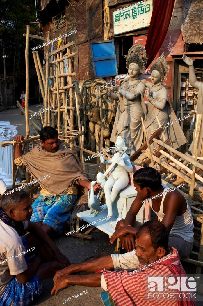 Stock Photo: India, West Bengal, Kolkata, Calcutta, Kumartulli district, clay idols of Hindu gods and goddesses, statue.