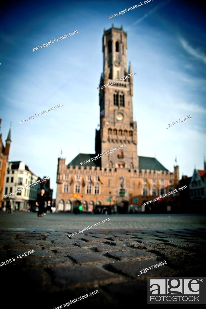 Stock Photo: Belfort Tower  Market Square Markt  Brugge  Belgium.