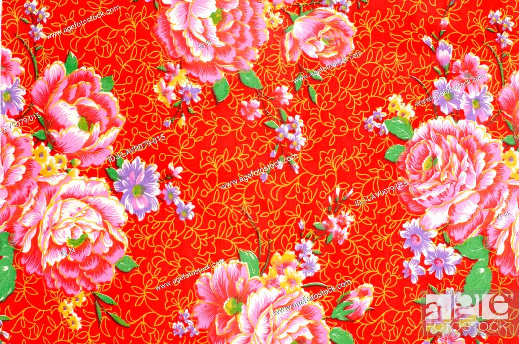 Stock Photo: Details of a fabric painting, Dihua Street, Taipei, Taiwan.