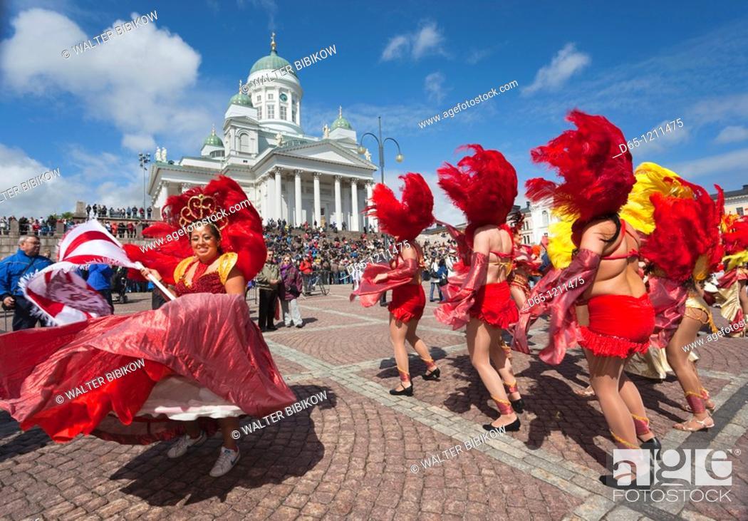 Stock Photo: Finland, Helsinki, Helsinki Day Samba Carnaval in Senate Square, Senaatintori, NR.