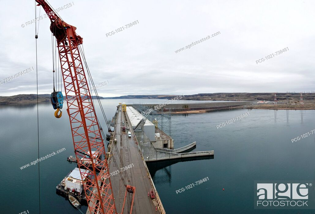 Stock Photo: Orange Construction Crane.