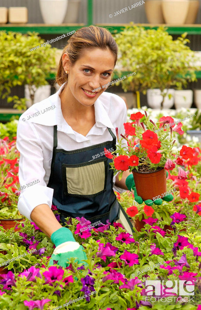 Stock Photo: Woman holding pot with surfinias at garden centre.