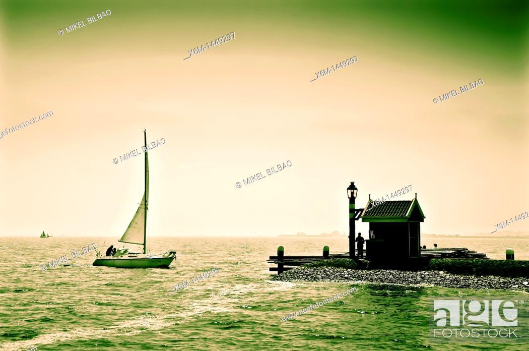 Stock Photo: Sailboat and port  Volendam village  Holland, Netherlands, Europe.