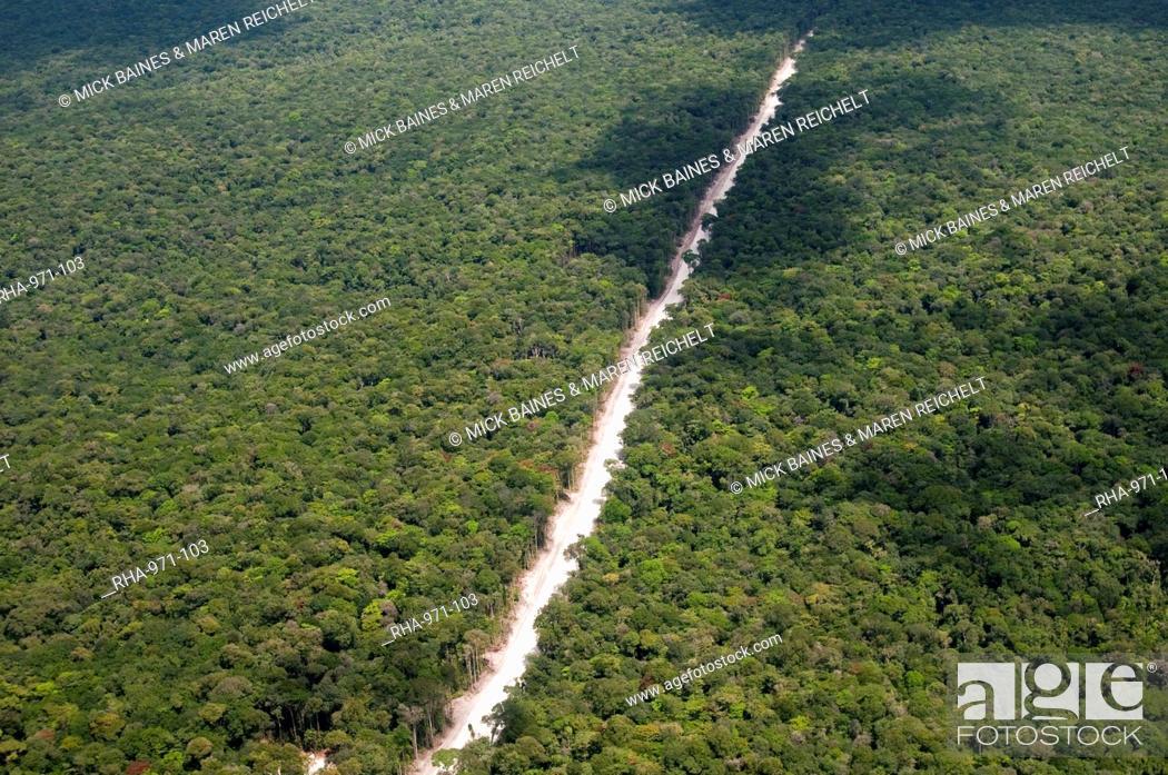 Stock Photo: Main highway of Guyana cutting through the rainforest, Guyana, South America.
