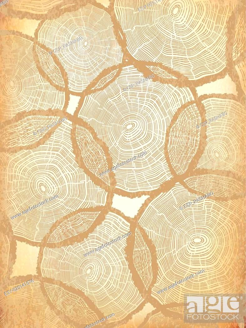 Stock Vector: Aged Background with Tree Rings Pattern.