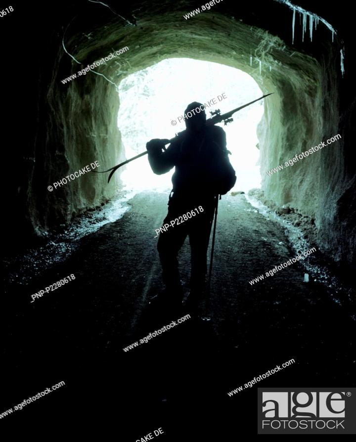 Stock Photo: Man in a tunnel.