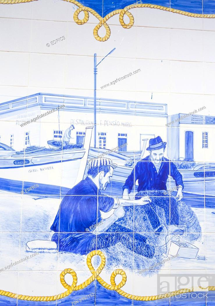 Stock Photo: azulejo tile painting, fishermen mending nets, central bus station, terminal rodoviario, quarteira, algarve, portugal.