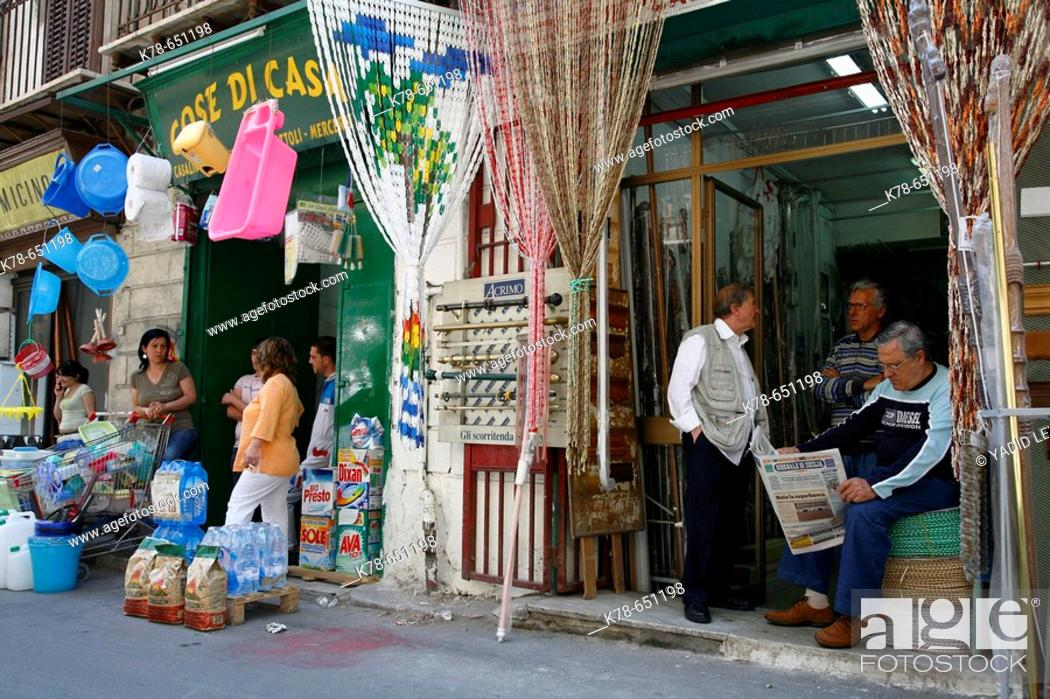 Stock Photo: Street in La Kalsa, Palermo, Sicily.