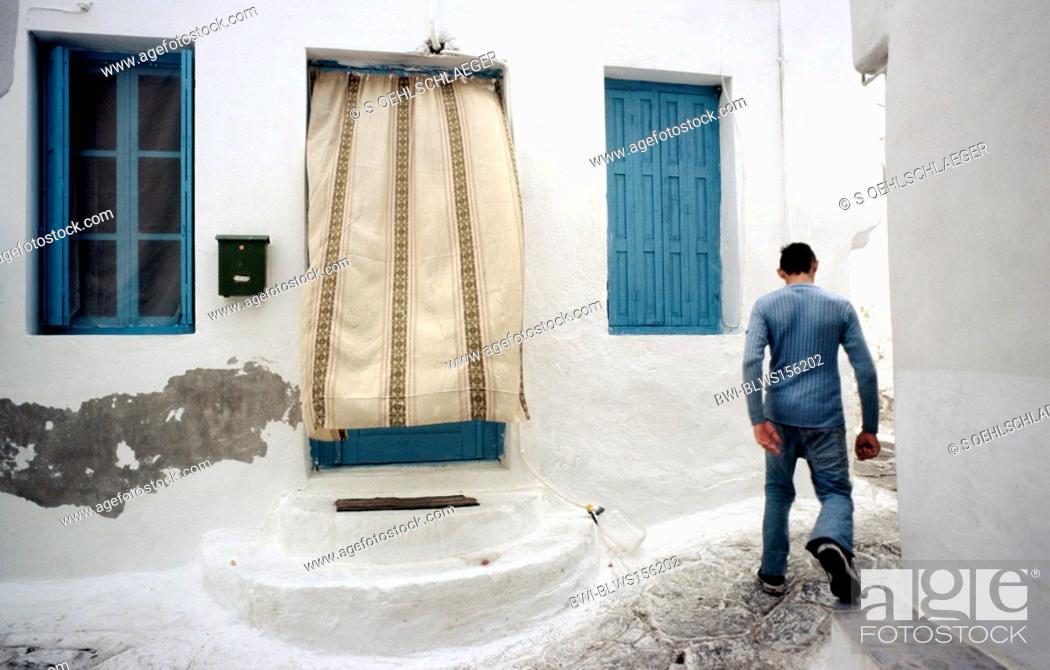 Stock Photo: alley in Parikia, Paros, Greece, Cyclades.