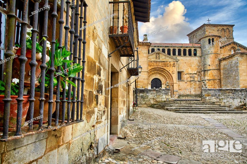 Stock Photo: Santa Juliana collegiate church, Santillana del Mar, Cantabria, Spain, Europe.