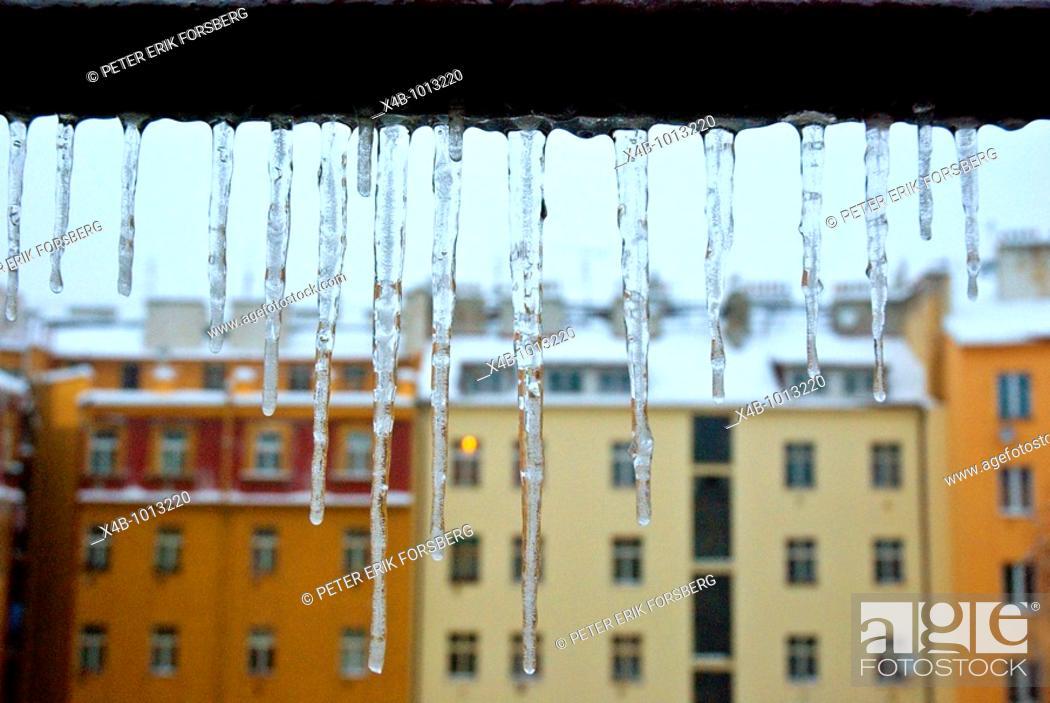 Stock Photo: Icicles Prague Czech Republic Europe.