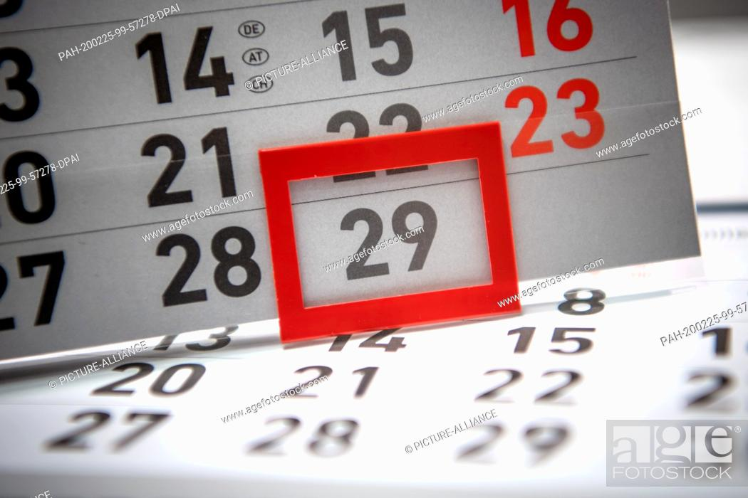 Stock Photo: 21 February 2020, Bremen: ILLUSTRATION - A calendar shows the date February 29. It's a fancy date: every four years the 29th of February comes up.