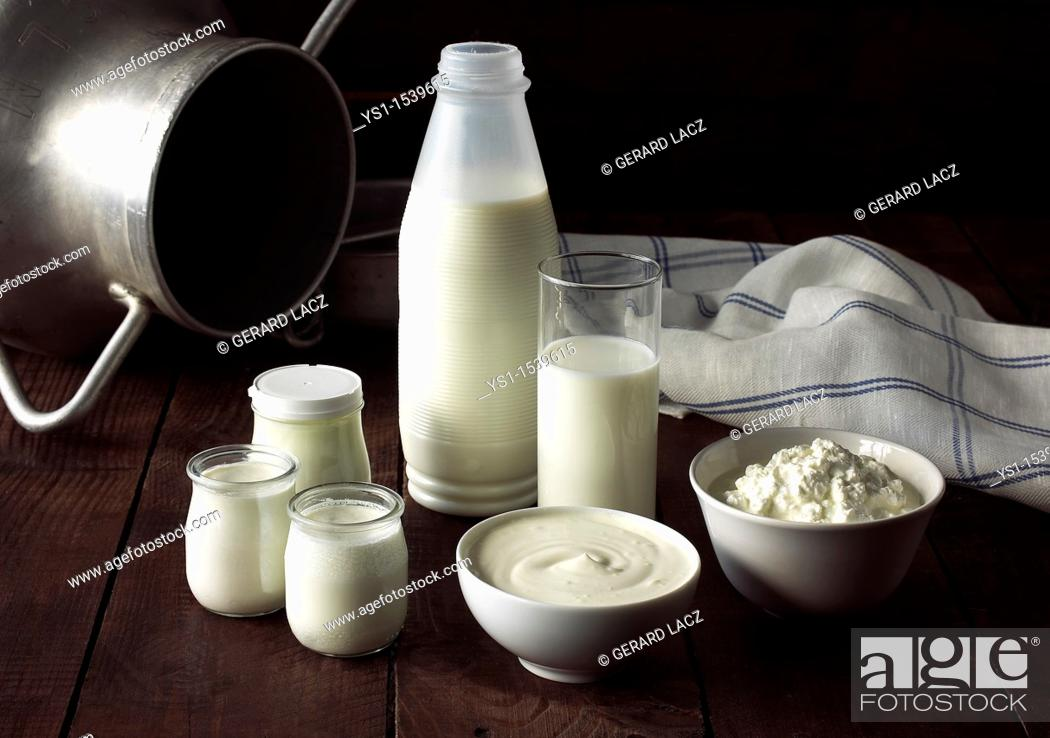 Stock Photo: Dairy Produce, Milk, Double Cream, Soft Cheese and Yogurt.