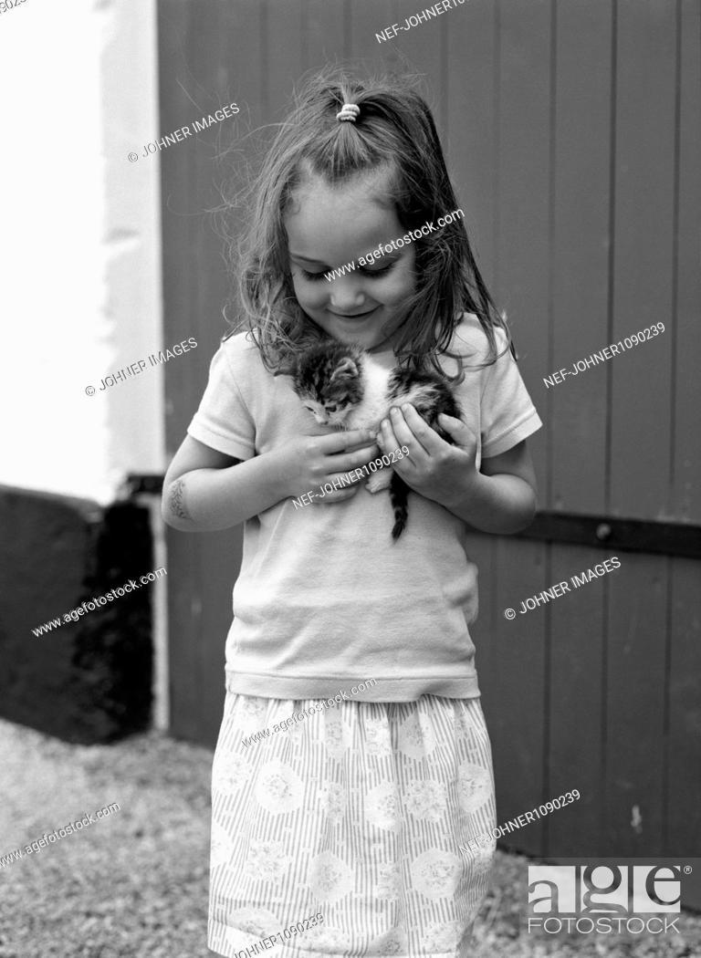 Stock Photo: Girl holding kitten.