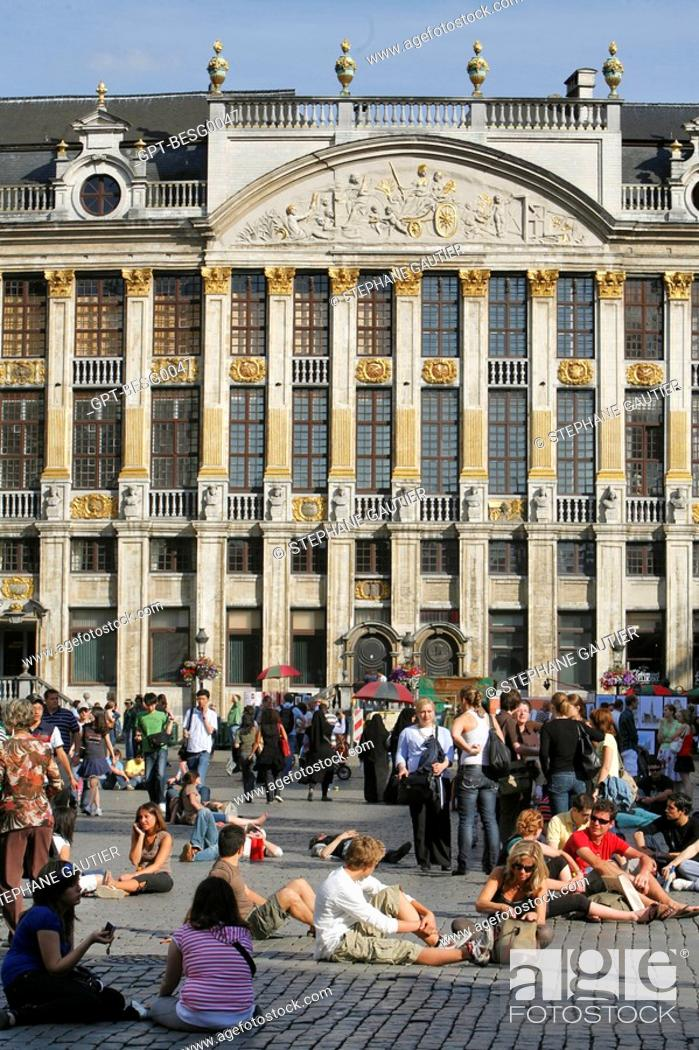 Stock Photo: HOUSE OF THE DUKES OF BRABANT, GRAND PLACE MAIN SQUARE, BRUSSELS, BELGIUM.