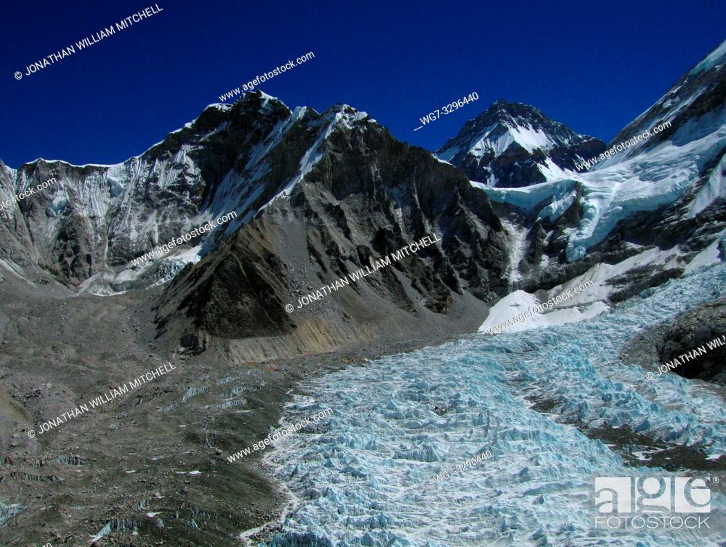 Stock Photo: NEPAL Everest Base Camp -- 16 Apr 2005 -- The massive ice fall which dominates this image is part of the upper Khumbu Glacier.