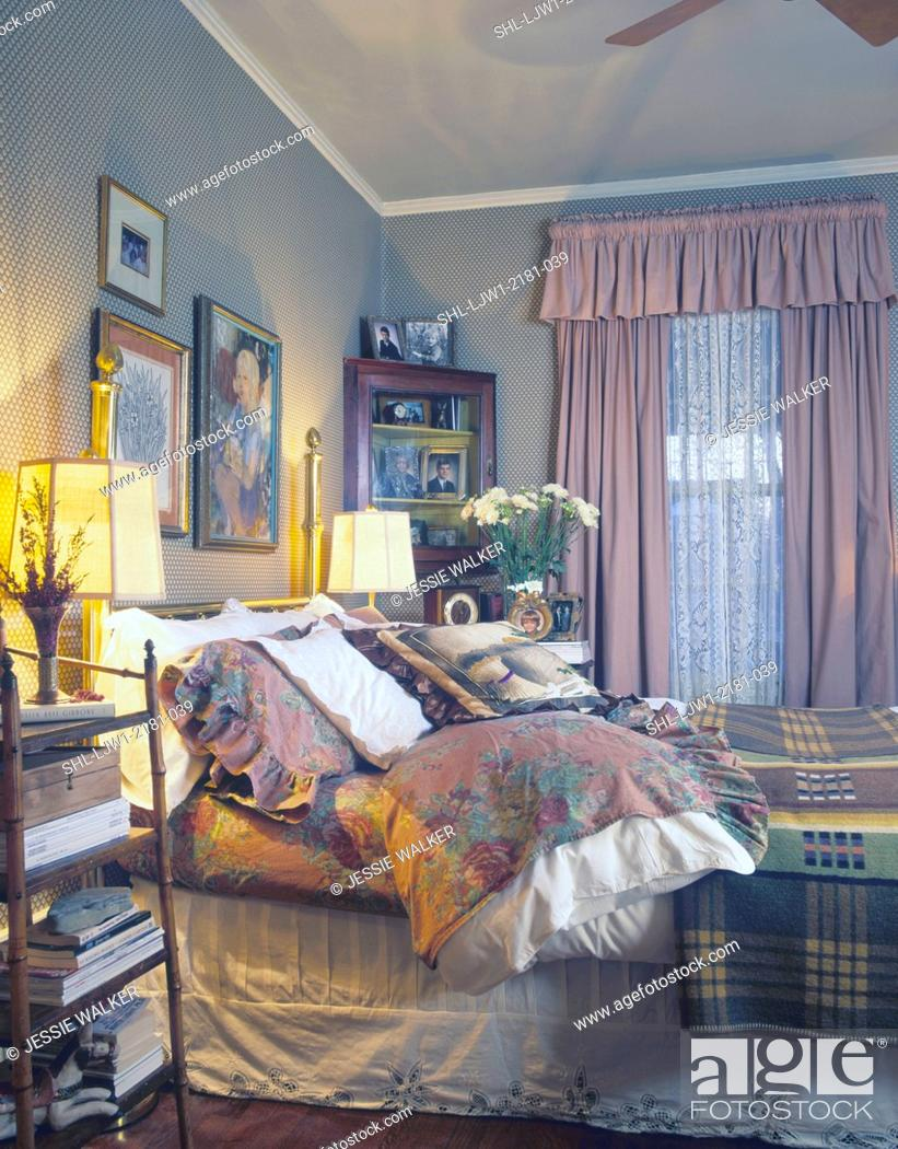 Stock Photo Bedrooms View Of Bed With Lots Bedding Cozy Warm Feminine Feel Creams Dusty Pinks Dark Yellows And Golds Br