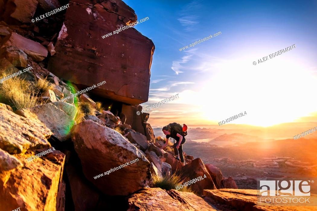 Stock Photo: Rock climber, Desert Towers, Indian Creek, Moab, Utah, USA.