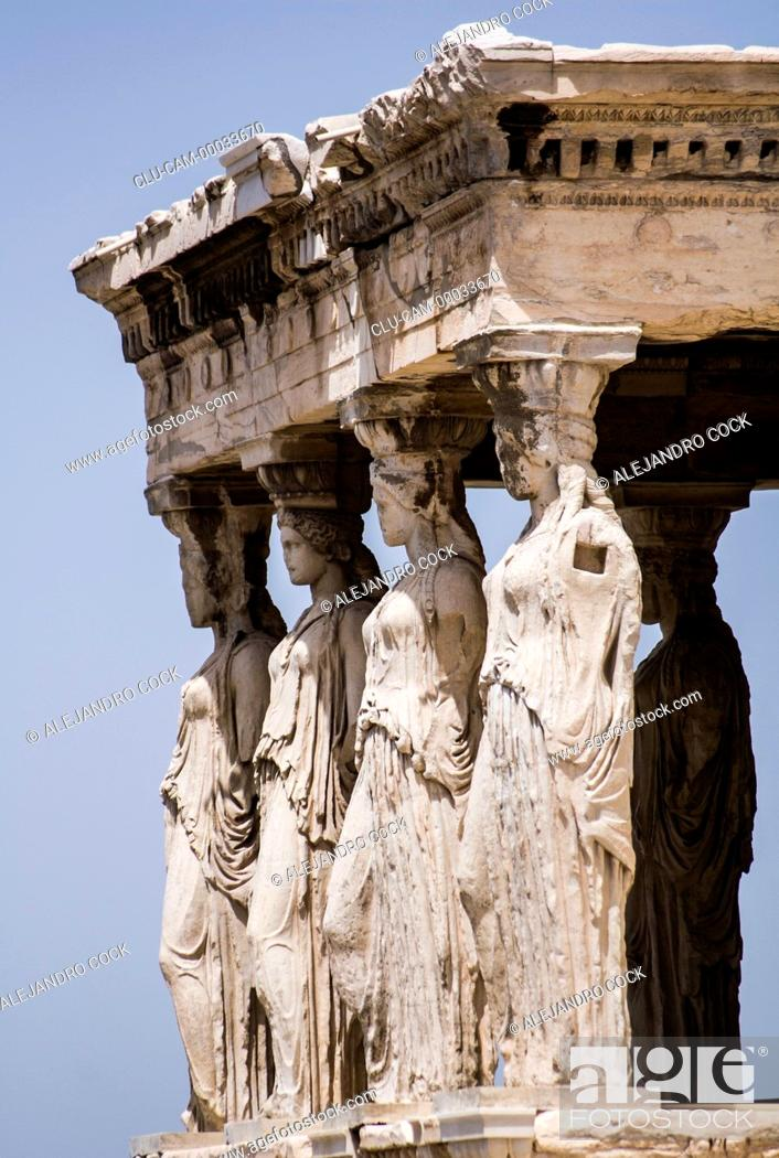 Stock Photo: Porch of the Cariatides, Acropolis, Athens, Greece, Western Europe.