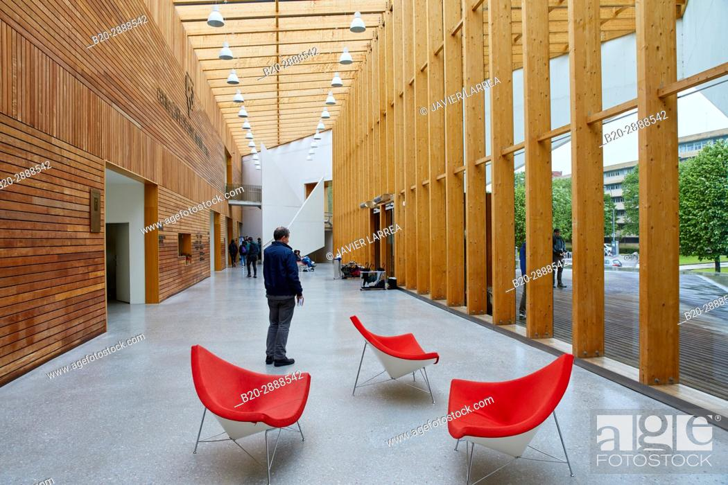 Stock Photo: Hall, Carlos Santa Maria Center, Gipuzkoa Campus Library, UPV, EHU, Basque Country University, Donostia, San Sebastian, Gipuzkoa, Spain, Europe.