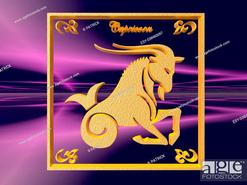 Zodiac horoscope brass logo capricorn, 20D illustration, background ...