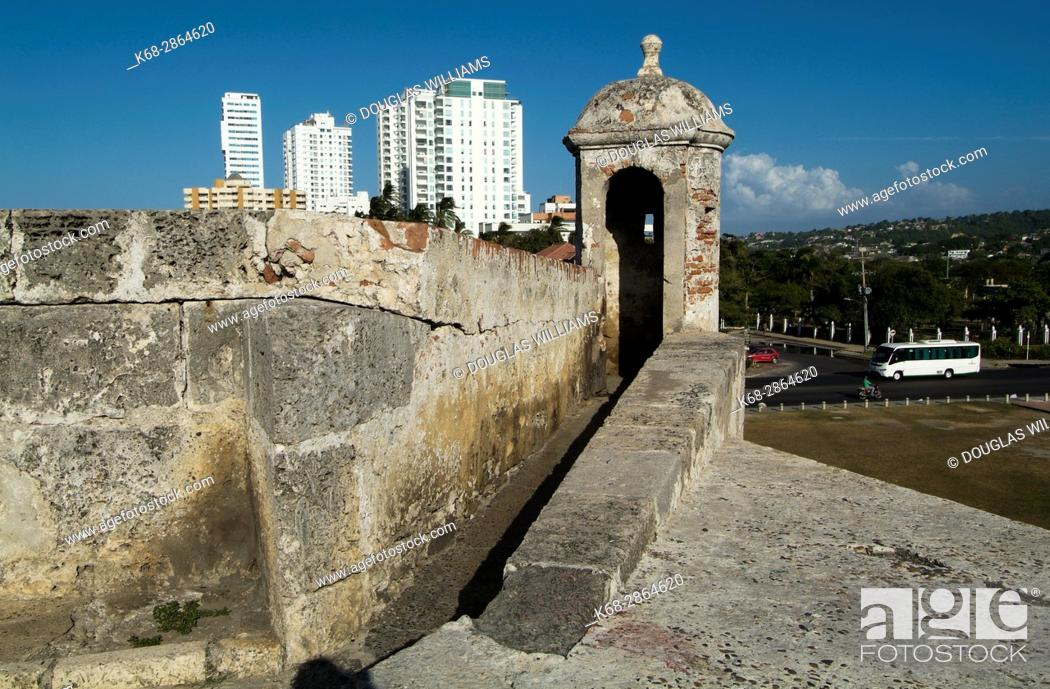 Stock Photo: the city wall around the historic centre of Cartagena, Colombia.
