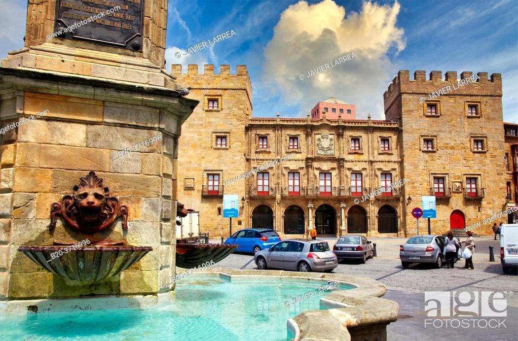 Stock Photo: Palacio de Revillagigedo, Plaza del Marqués, Cimadevilla, Gijon. Asturias. Spain, Europe.