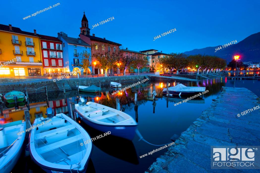 Stock Photo: Ascona, Switzerland, Europe, canton, Ticino, Lago Maggiore, houses, homes, harbour, port, boats, church, bank promenade, dusk, evening, lighting,.