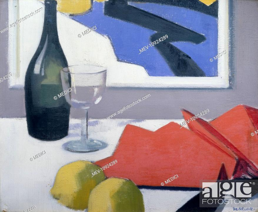 Stock Photo: Red Fan with Bottle and Glass' – with lemons and painting on wall behind.