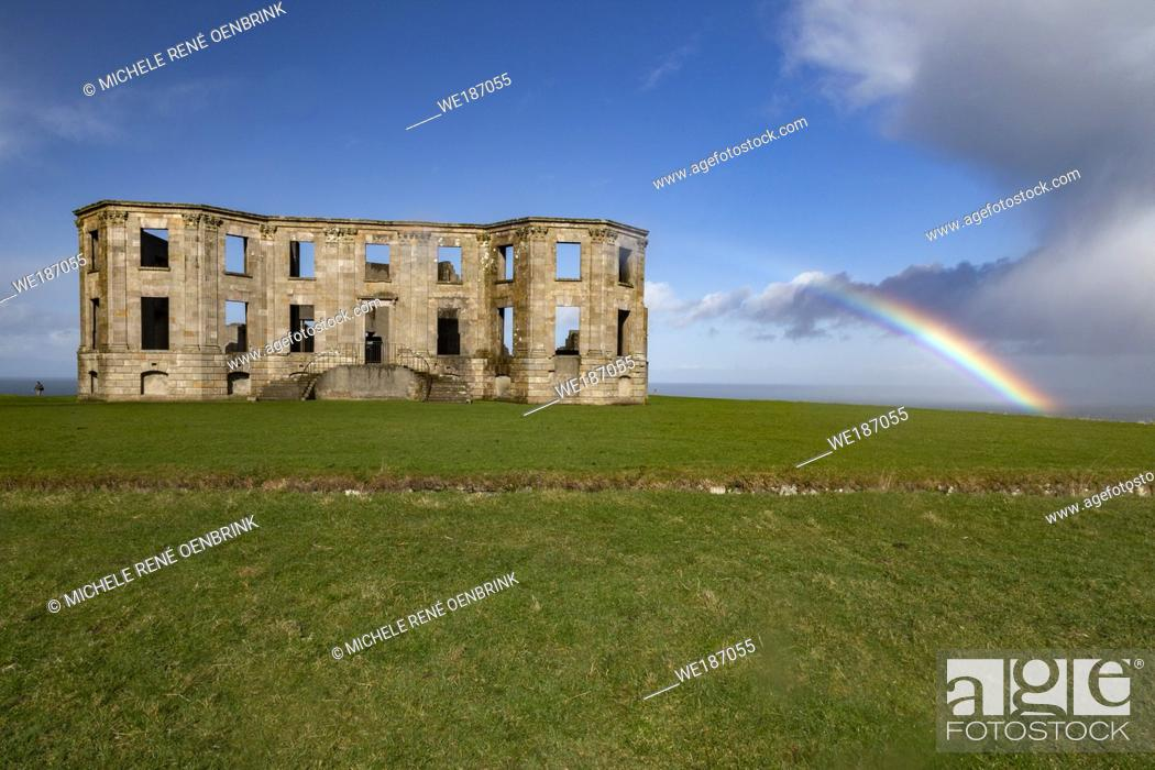 Stock Photo: Downhill Castle at Mussenden Temple in Castlerock, County Londonderry Northern Ireland.