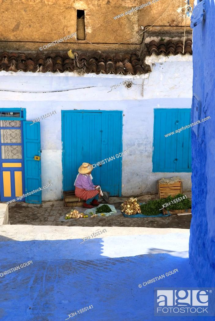 Stock Photo: medina of Chefchaouen, Rif region, Morocco, North Africa.