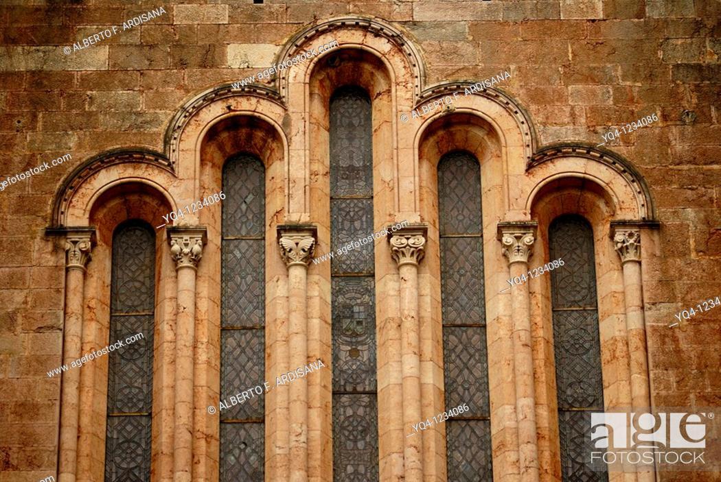 Stock Photo: Basilica de Covadonga, Asturias. Detail window.