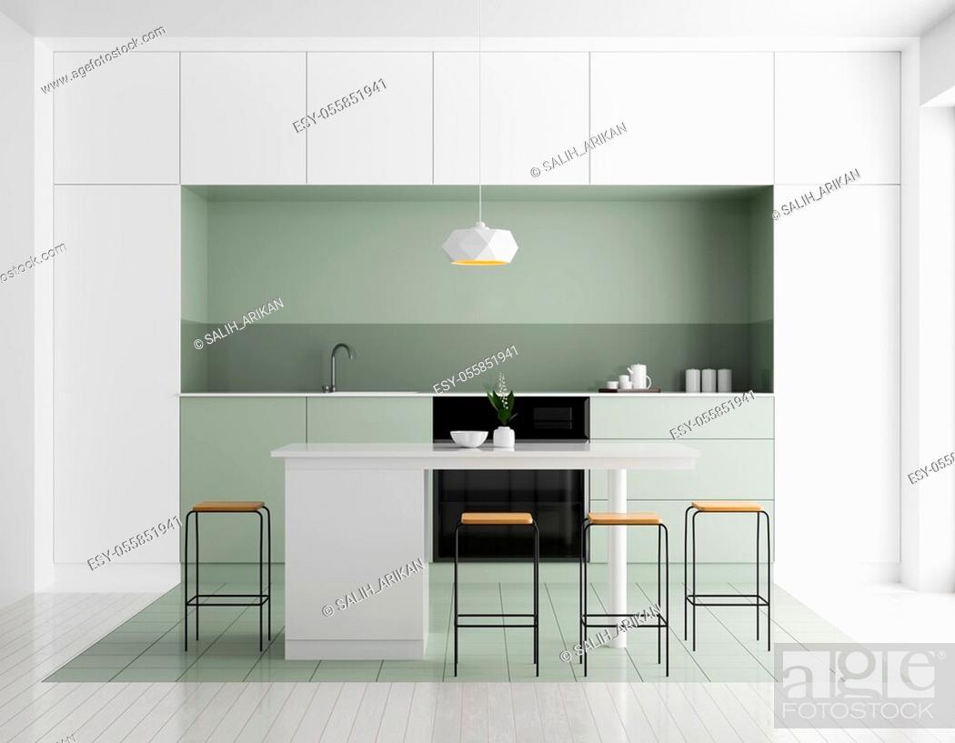 Stock Photo: Modern bright kitchen interior. Minimalistic kitchen design with bar and stools. 3D illustration.