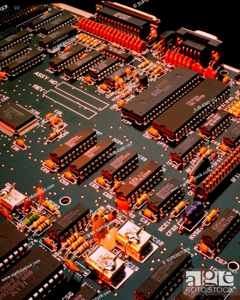 Close Up of an Integrated Circuit Board with Resistors and