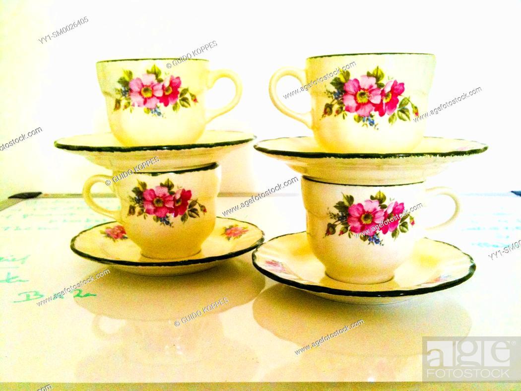 Imagen: Tilburg, Netherlands. Four vintage cups for coffee.